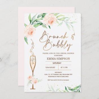rose gold calligraphy floral bridal shower invitation