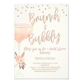 rose gold champagne glass bridal shower invitation
