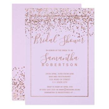 rose gold confetti lavender script bridal shower invitation