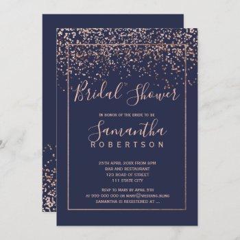 rose gold confetti navy blue script bridal shower invitation