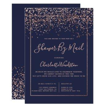 rose gold confetti navy bridal shower by mail invitation