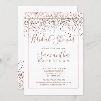 rose gold confetti white script bridal shower invitation