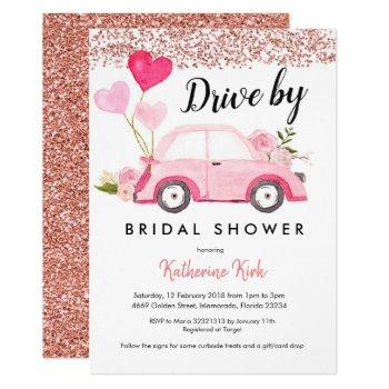 rose gold drive by bridal shower invitation