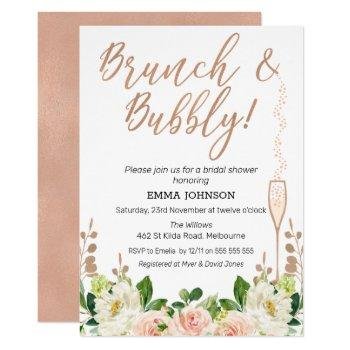 rose gold floral brunch bridal shower invitation