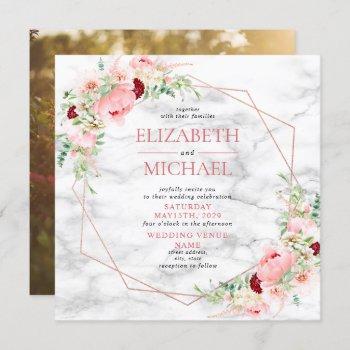 rose gold geometric marble floral square wedding invitation