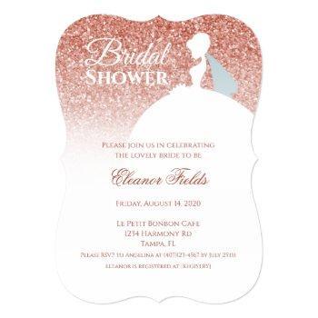 rose gold glitter bridal shower invitation