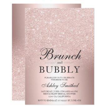 rose gold glitter brunch bubbly bridal shower invitation