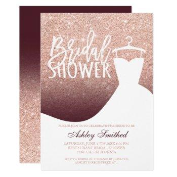 rose gold glitter burgundy dress bridal shower invitation