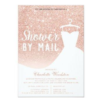 Small Rose Gold Glitter Dress Bridal Shower By Mail Invitation Front View