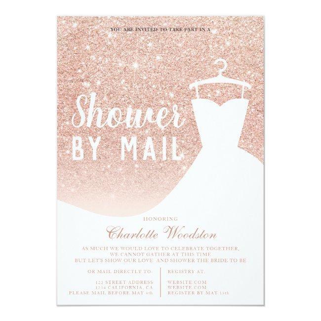 Rose Gold Glitter Dress Bridal Shower By Mail Invitation