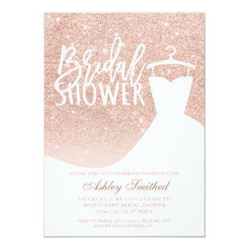 Rose Gold Glitter Elegant Chic Dress Bridal Shower Invitation Front View