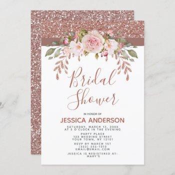 rose gold glitter floral bridal shower invitation