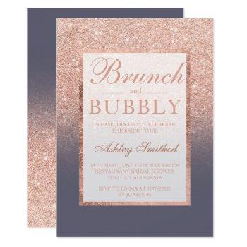 rose gold glitter grey brunch bubbly bridal shower invitation