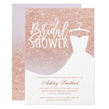 rose gold glitter lilac chic dress bridal shower invitation