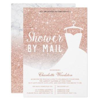 rose gold glitter marble bridal shower by mail invitation