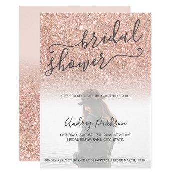 rose gold glitter pink bold bridal shower photo invitation