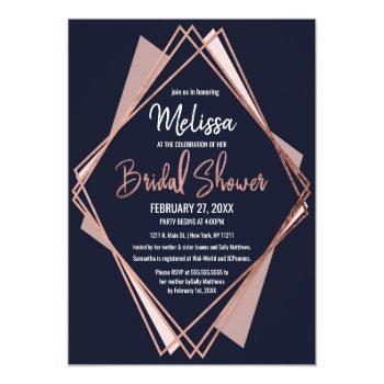 rose gold navy blue mauve geometric bridal shower invitation