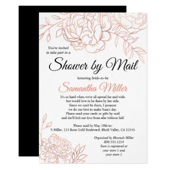 rose gold sketched flowers bridal shower by mail invitation