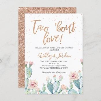 rose gold taco ''bout love couples shower invitation