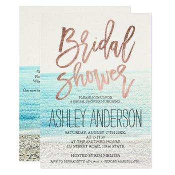 rose gold typography beach photo bridal shower 2 invitation