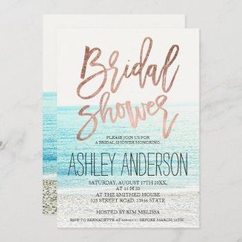 rose gold typography beach photo bridal shower invitation