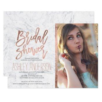 rose gold typography marble photo bridal shower invitation