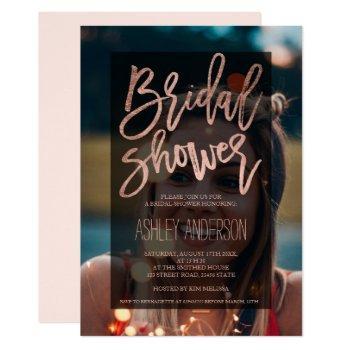 rose gold typography upload photo bridal shower invitation