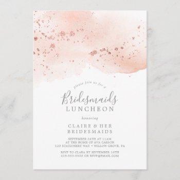 rose gold watercolor bridesmaids luncheon invitation