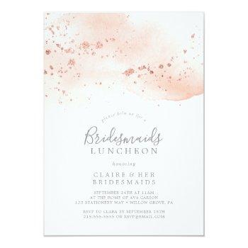 rose gold watercolor bridesmaids luncheon invitation