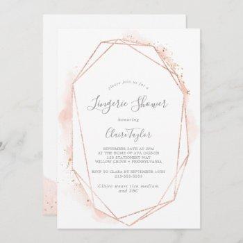 rose gold watercolor geometric lingerie shower invitation