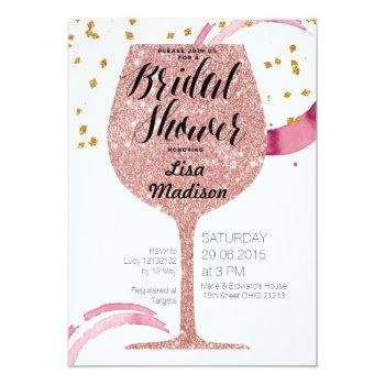 rose gold wine bridal shower invitation card