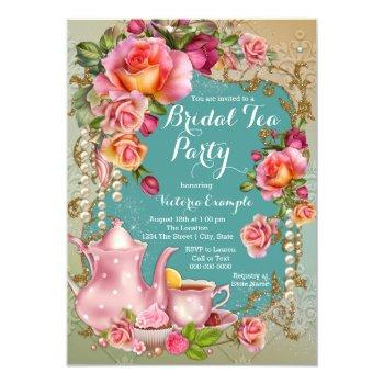 rose pearl bridal tea party invitation