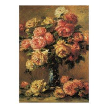 roses in a vase by renoir, floral bridal shower invitation