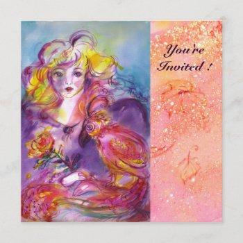 rosina / lady ,rose and parrot pink bridal shower invitation