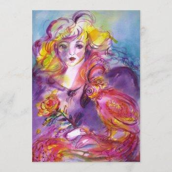 rosina / lady with rose and parrot pink blue invitation