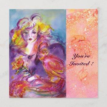 rosina / lady with rose and parrot pink sparkles invitation