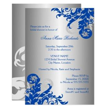 royal blue and silver flourish bridal shower invitation