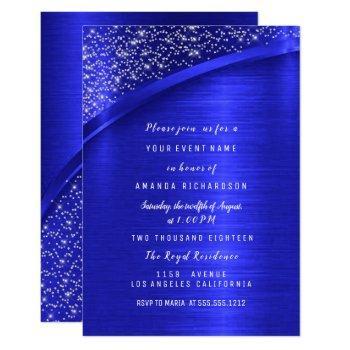 royal blue glitter bridal shower birthday invitation