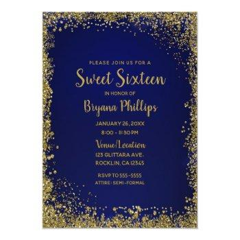 royal blue & gold glitter glam sweet 16 party invitation