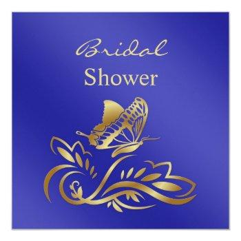 royal blue & gold swirls, butterfly bridal shower invitation