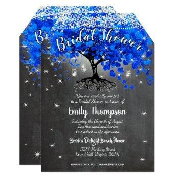 royal blue heart leaf tree bridal shower invite