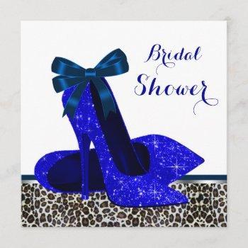 royal blue high heel bridal shower invitation