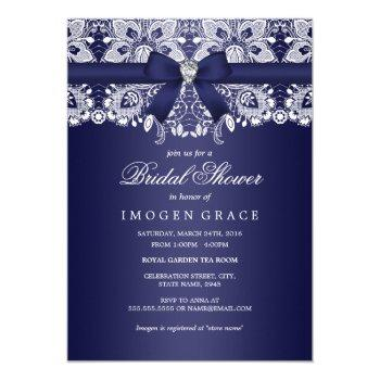 royal blue lace & diamond bow bridal shower invitation