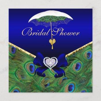 royal blue peacock bridal shower invite