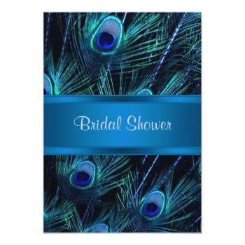 royal blue purple peacock bridal shower invitation