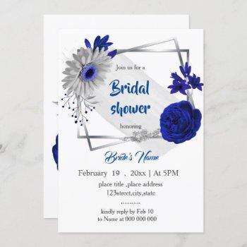 royal blue silver floral geometric bridal shower invitation