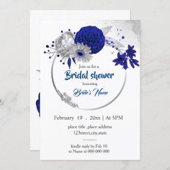 royal blue silver floral wreath bridal shower invitation