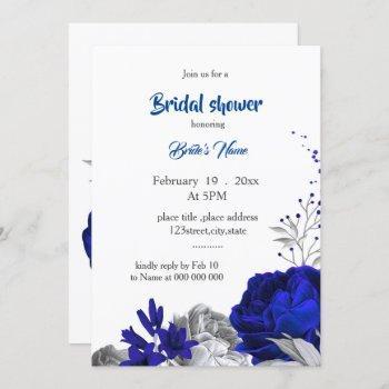 royal blue silver flowers bridal shower invitation