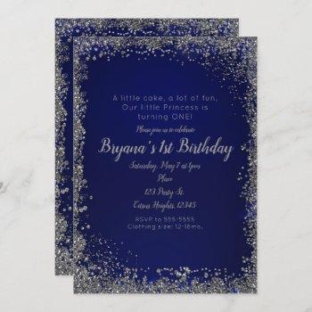 royal blue silver glitter glam 1st birthday party invitation