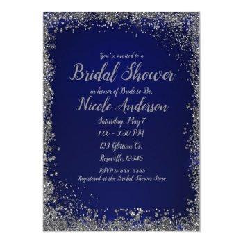 royal blue & silver glitter modern bridal shower invitation